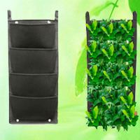 4 Pocket Reinforce Wall Planter Green Field Pots Grow Container Bags HT5092B