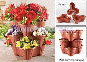 Outdoor Lawn Garden Terracotta Stackable Garden Planters HT5034